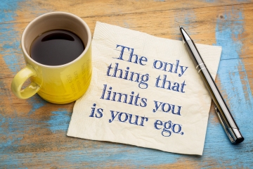 The only thing that limits you is your ego - handwriting on a na